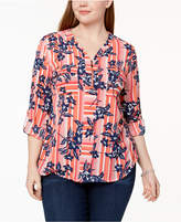 NY Collection Plus Size Printed Utility Top