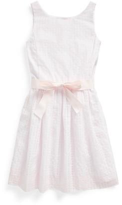 Ralph Lauren Windowpane Cotton-Blend Dress