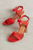Anthropologie Farylrobin Red Cork Block Heel Sandals