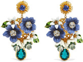 Dolce & Gabbana Gold-tone, Crystal And Enamel Clip Earrings - one size
