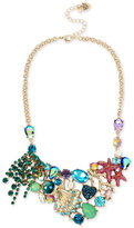 Betsey Johnson Gold-Tone Mixed Stone Sea Motif Statement Necklace