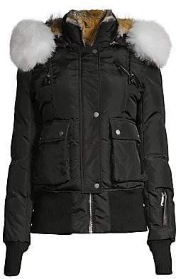 Nicole Benisti Women's Fordham Intarsia Fur Trim Bomber Parka