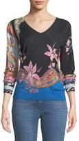 Etro V-Neck Lily-Print Silk-Cashmere Sweater