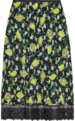 Diane von Furstenberg Chrissy Lace-trimmed Printed Silk Crepe De Chine Skirt