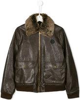 John Richmond Kids Teen faux fur collar jacket