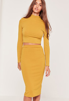 Missguided Ribbed Mini Skirt Yellow