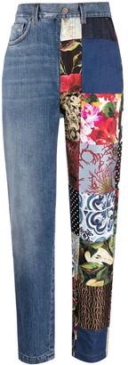 Dolce & Gabbana Patchwork-Detail Straight-Leg Jeans