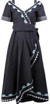 Peter Pilotto embroidered denim wrap dress - women - Cotton/Linen/Flax/Polyester/Acetate - 8