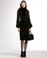 Gucci Velvet-Yoke Bell-Sleeve Dress