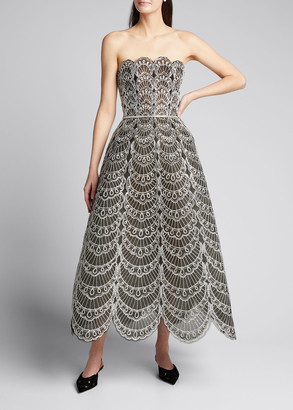 Oscar de la Renta Scallop Embroidered Strapless T-Length Dress