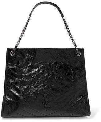 Saint Laurent Niki Large Quilted Crinkled Glossed-leather Tote - Black