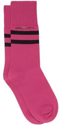 Ganni Logo-print Striped Jersey Ankle Socks - Pink