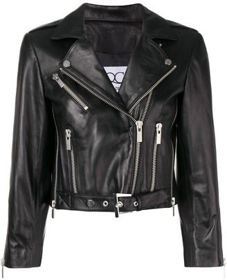 Quantum Courage Leather Biker Jacket