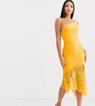 Asos DESIGN Tall one shoulder grid lace midi dress