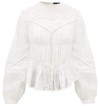Isabel Marant Samantha Embroidered Ramie-voile Blouse - Womens - White