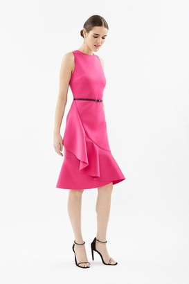 Coast Belted Scuba Ruffle Dress