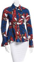 Marni Floral Print Peplum Button-Up Top
