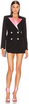 Alessandra Rich Double Breasted Jacket With Pink Collar in Black & Pink | FWRD