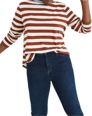 Madewell Whisper Cotton Canarsie Stripe Rib Crewneck Long Sleeve T-Shirt