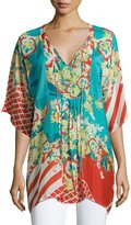Johnny Was Floral-Print Bias Tie-Neck Top, Multicolor