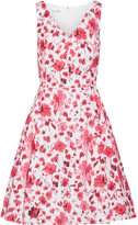 Oscar de la Renta Floral-print Stretch-cotton Dress - Pink
