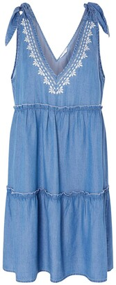 Accessorize Tie Strap Embroidered Chambray Dress Women Size X Large Blue Cover-Up Beachwear