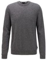 HUGO BOSS - Regular Fit Sweater In Mouline Virgin Wool - Dark Blue