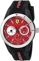 Ferrari Men's 'RedRevT' Quartz Stainless Steel and Rubber Casual Watch, Color:Red (Model: 830437)