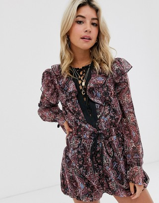 ASOS DESIGN ruffle romper with ties in floral chiffon