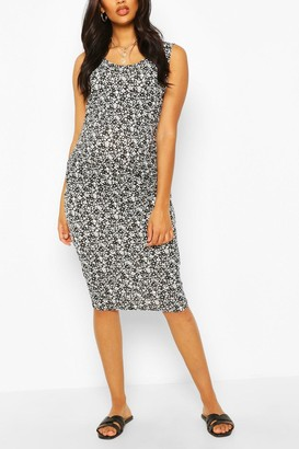 boohoo Maternity Scoop Neck Ditsy Floral Midi Dress