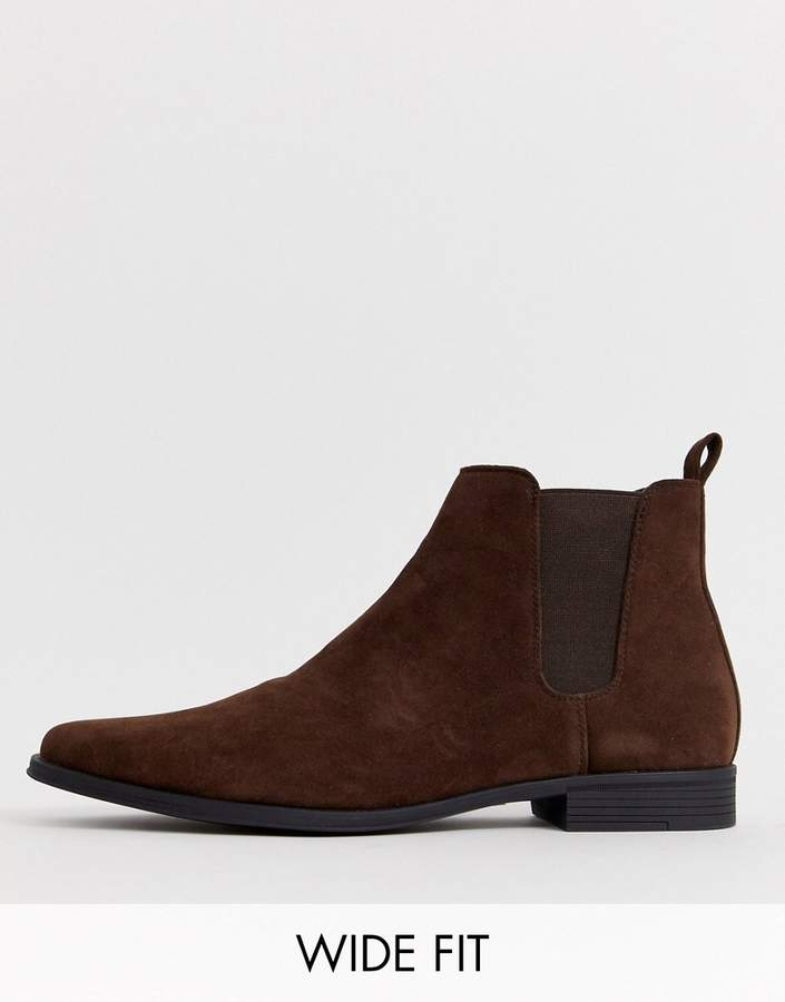 Asos Design DESIGN Wide Fit chelsea boots in brown faux suede