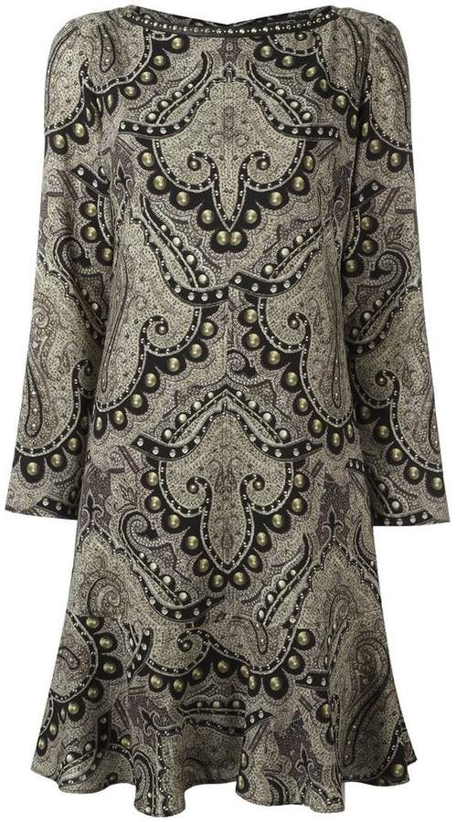 Etro damask print ruffle hem dress