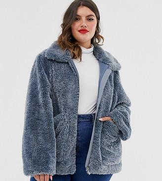 Urban Bliss Plus zip through faux fur coat with deep cuffs