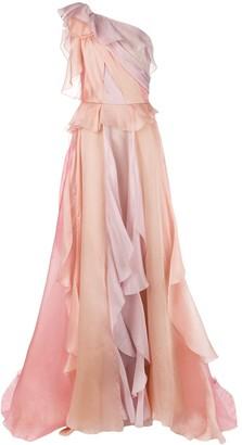 Marchesa One-Shoulder Evening Dress