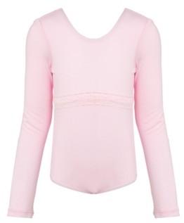 Flo Dancewear Little and Big Girls Long Sleeve Lace Detail Leotard