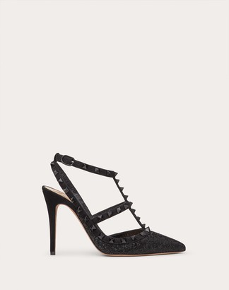 Valentino Rockstud Ankle Strap Calfskin Leather Pump With Tonal Studs 100 Mm Women Black Viscose 68%, Silk 32% 35