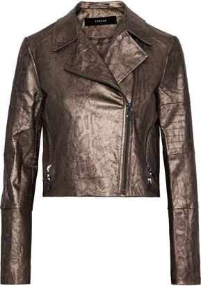 J Brand Aiah Coated Snake-print Cotton-blend Twill Biker Jacket