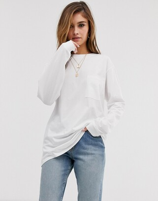 Asos Design DESIGN oversized t-shirt with pocket detail in white