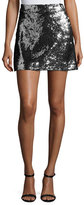 Milly Sequined Modern Miniskirt, Silver/Black