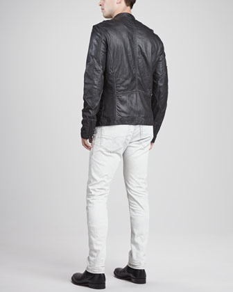 Diesel Spray-Dyed Leather Jacket, Charcoal
