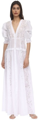 Ermanno Scervino Long Belted Eyelet Shirt Dress
