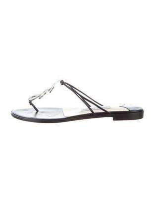 Jimmy Choo Leather Crystal Embellishments T-Strap Sandals Black