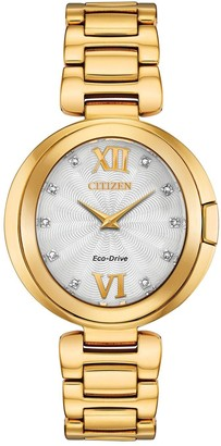 Citizen Eco Drive Mother of pearl and Diamond Dial Gold Stainless Steel Bracelet Ladies Watch