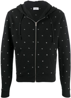 Saint Laurent Eyelet Detailed Zip-Up Hoodie