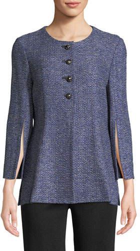 Misook Plus Size Tweed Button-Front Jacket w/Split Sleeves