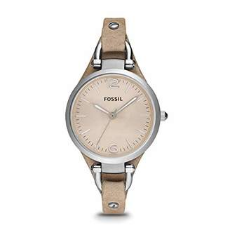 Fossil Women's Georgia Quartz Stainless Steel and Leather Casual Watch and Womens Grey Mother-of-Pearl and Rose Gold Multi-Strand Slider Closure Bracelet