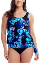 Love My Curves Women's Tankini Tops - Blue & Black Passion Floral Blouson Tankini Top - Women & Plus