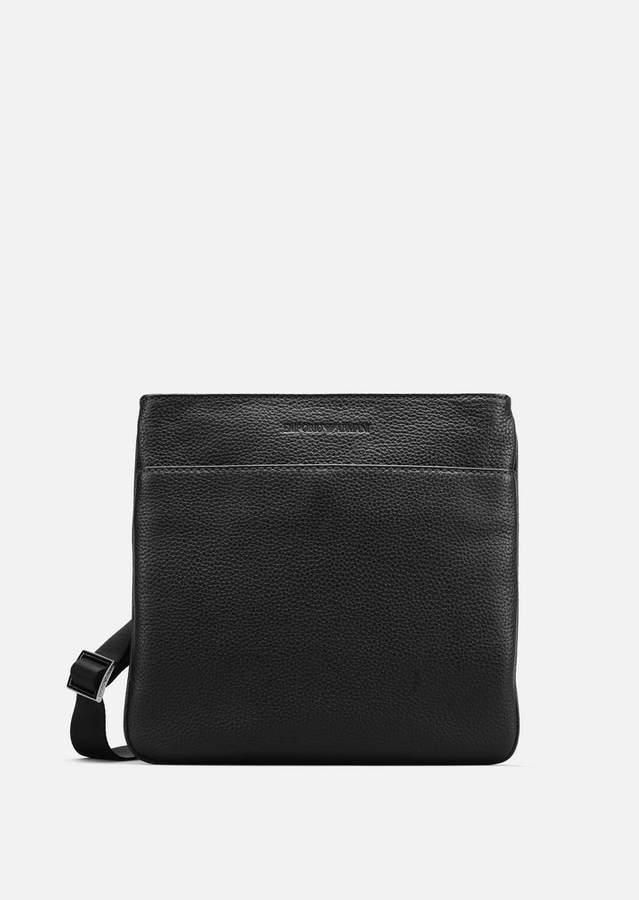 Emporio Armani Grained Leather Messenger Bag