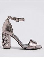 M&S Collection Block Jewel Heel Two-Part Sandals