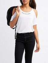 Charlotte Russe Girls Bite Back Cold Shoulder Tee